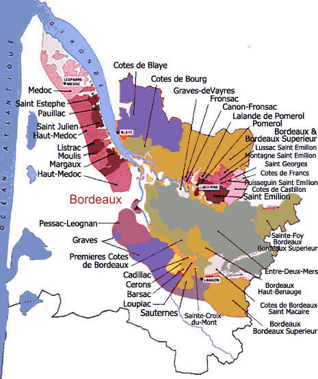 Carte Bordeaux Appellations.Carte Des Vins De Bordeaux